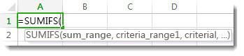 使用 [公式自動完成] 輸入 SUMIFS 函數