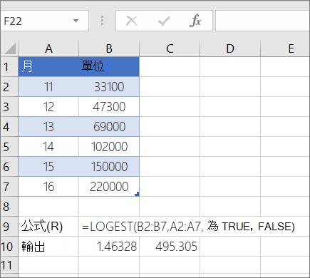 範例 1-- LOGEST 函數