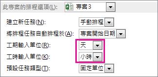 [選項] 對話方塊 [此專案的排程選項] 區域