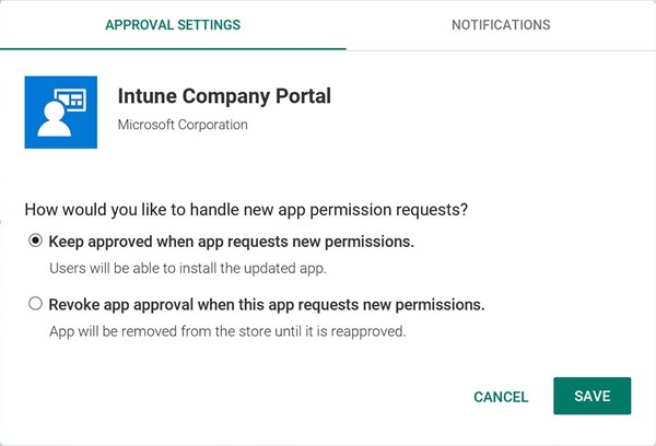 App approval setting