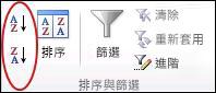 Excel 中 [資料] 索引標籤上 [排序與篩選] 群組中的 [排序] 按鈕