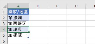 表格中選取的連結記錄儲存格