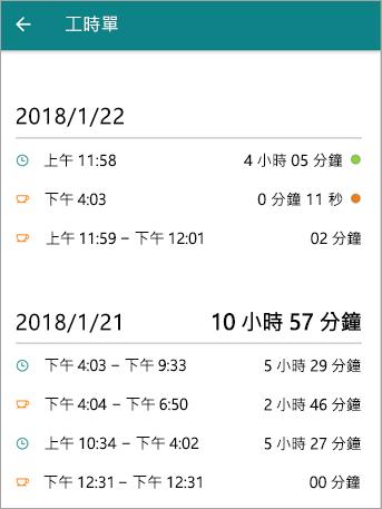 這是員工的時程表上 StaffHub 行動應用程式的外觀。